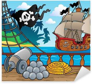 Vinilo Pixerstick Barco pirata baraja tema 4