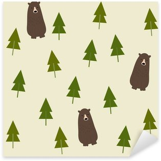 Vinilo Pixerstick Bear and forest seamless background.