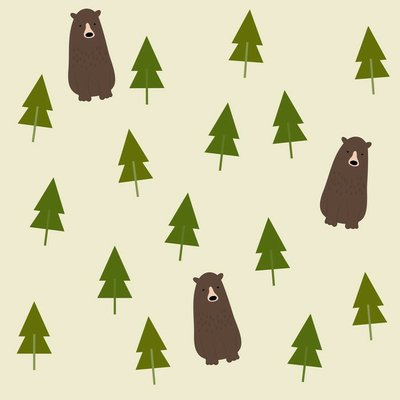 Pixerstick para Todas las Superficies Bear and forest seamless background.