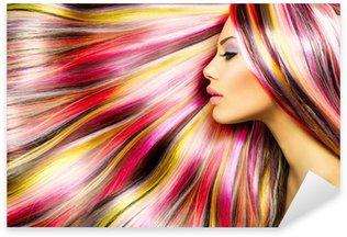 Pixerstick para Todas las Superficies Beauty Girl moda Modelo con el pelo teñido de colores