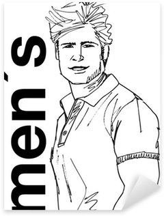 Pixerstick para Todas las Superficies Boceto de hombre guapo rostro. Ilustración vectorial