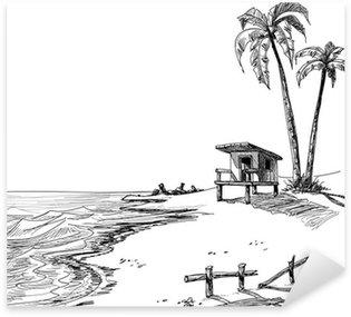 Pixerstick para Todas las Superficies Boceto Verano playa con palmeras y soporte del salvavidas