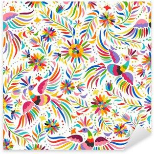 Vinilo Pixerstick Bordado mexicana patrón transparente. patrón de colores étnicos y adornado. Los pájaros y las flores de luz de fondo. Fondo floral con el ornamento étnico brillante.