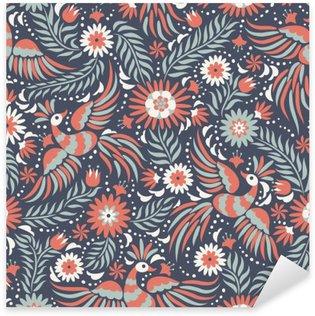Vinilo Pixerstick Bordado mexicana patrón transparente. patrón de colores étnicos y adornado. Pájaros y flores en el fondo de color rojo oscuro y negro. Fondo floral con el ornamento étnico brillante.