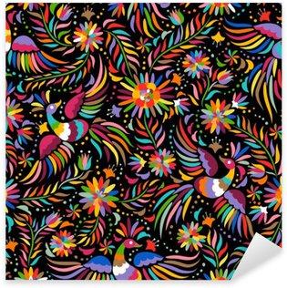 Vinilo Pixerstick Bordado mexicana patrón transparente. patrón de colores étnicos y adornado. Pájaros y flores fondo oscuro. Fondo floral con el ornamento étnico brillante.