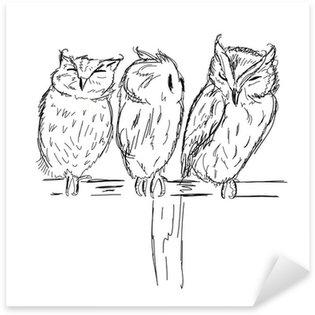 Pixerstick para Todas las Superficies Bosquejo de búhos divertidos para su diseño
