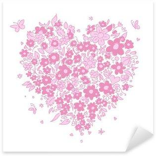 Pixerstick para Todas las Superficies Bosquejo de la forma del corazón floral para su diseño
