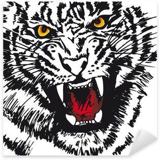 Pixerstick para Todas las Superficies Bosquejo del tigre blanco. Ilustración vectorial