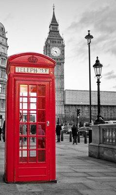 Pixerstick para Todas las Superficies Cabina de teléfono roja en Londres con el Big Ben en blanco y negro
