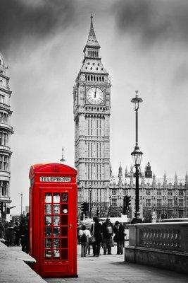 Pixerstick para Todas las Superficies Cabina de teléfono roja y el Big Ben en Londres, Inglaterra, Reino Unido
