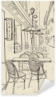 Pixerstick para Todas las Superficies Café de la calle en el casco antiguo ilustración dibujo