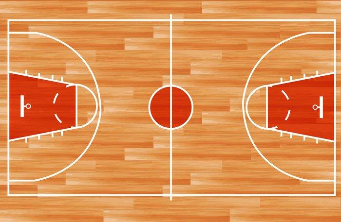 vinilo pixerstick cancha de baloncesto piso de parquet de madera vector deportes de equipo