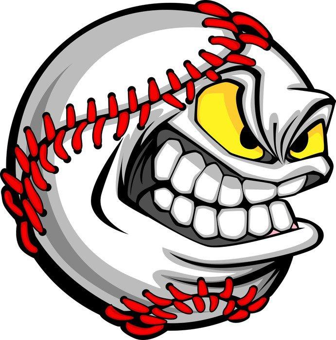 Pixerstick para Todas las Superficies Cara de béisbol de dibujos animados Bola de imagen - Deportes de equipo