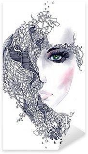 Vinilo Pixerstick Cara de mujer abstracta
