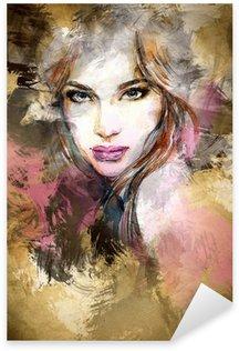 Vinilo Pixerstick Cara de mujer hermosa. ejemplo de la acuarela