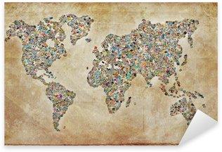 Pixerstick para Todas las Superficies Carte du monde fotos, textura vintage