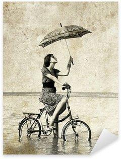 Pixerstick para Todas las Superficies Chica con paraguas en bicicleta. Foto en el estilo de la imagen anterior.
