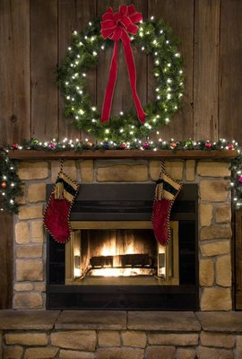 Pixerstick para Todas las Superficies Christmas hogar de la chimenea con la guirnalda y Medias