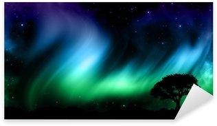 Pixerstick para Todas las Superficies Cielo nocturno con las luces norther con siluetas de árboles