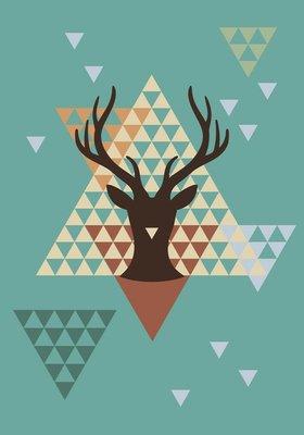 Pixerstick para Todas las Superficies Ciervos de Navidad con patrón geométrico, vector