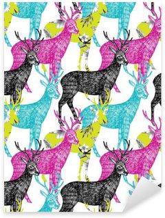 Pixerstick para Todas las Superficies Ciervos dibujado a mano de fondo sin fisuras