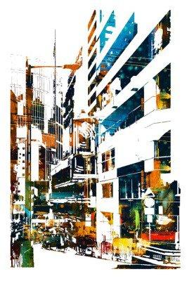 Pixerstick para Todas las Superficies Ciudad moderna urbana, pintura ilustración