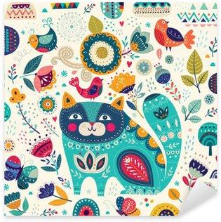 Vinilo Pixerstick Colorida ilustración vectorial con el gato hermoso, mariposas, pájaros y flores