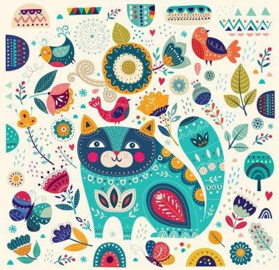 Pixerstick para Todas las Superficies Colorida ilustración vectorial con el gato hermoso, mariposas, pájaros y flores