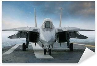 Vinilo Pixerstick Combate F-14 jet sobre un soporte cubierta aviones vistos de frente,