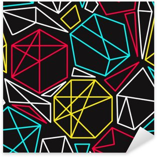 Vinilo Pixerstick Concepto de CMYK del vector sin fisuras patrón geométrico en colores vivos