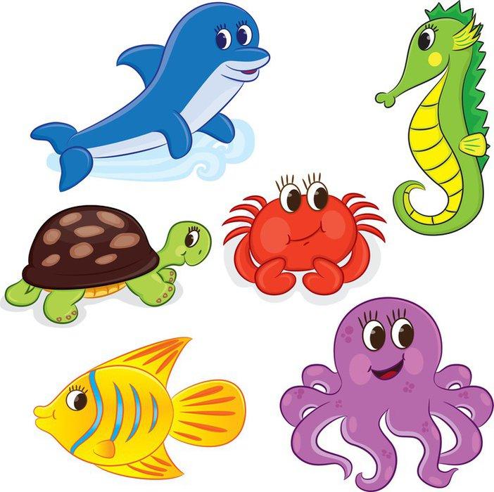 Vinilo Pixerstick Conjunto de animales de mar de dibujos animados