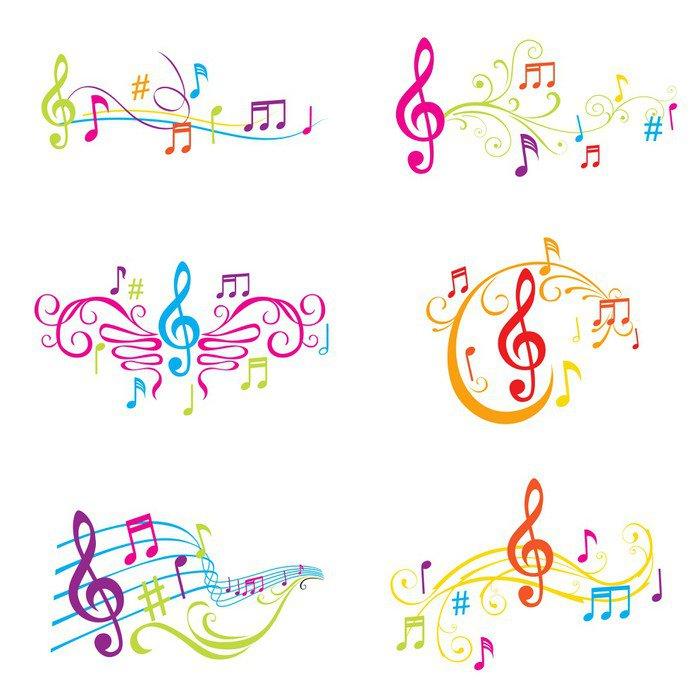 Pixerstick para Todas las Superficies Conjunto de la ilustración de las notas musicales coloridas - en vector - Señales y símbolos