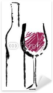 Pixerstick para Todas las Superficies Copa de vino rojo con la botella