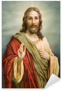 Vinilo Pixerstick Copia de la típica imagen católica de Jesucristo