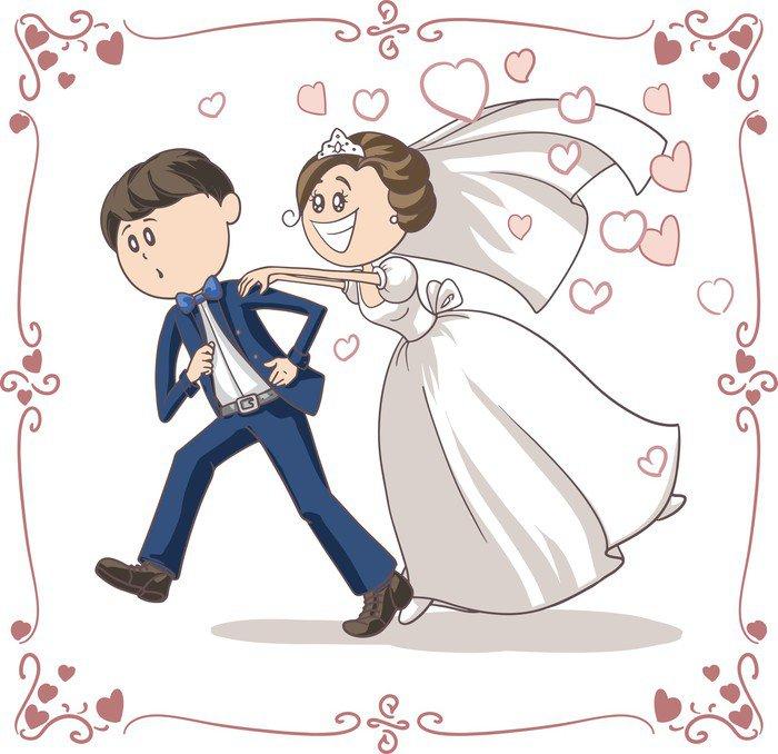 Vinilo Pixerstick Correr novio perseguido por la novia divertida