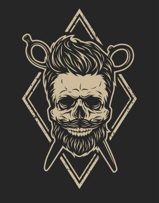 Pixerstick para Todas las Superficies Cráneo con una barba y un corte de pelo con estilo.