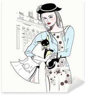 Pixerstick para Todas las Superficies Croquis de la moda retro niña con un pequeño perro