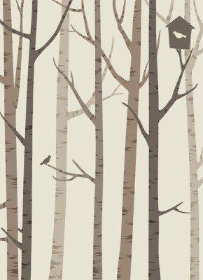 Pixerstick para Todas las Superficies Decorativos siluetas de los árboles con un pájaro y pajarera