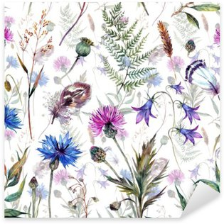 Vinilo Pixerstick Dibujados a mano flores silvestres acuarela