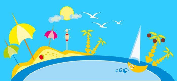Vinilo Pixerstick Dibujo beb  Playa de A y mar el sol y el