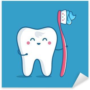Vinilo Pixerstick Diente con cepillo de dientes