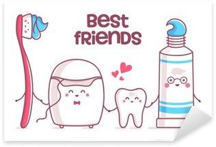 Vinilo Pixerstick Diente, pasta de dientes, hilo dental, cepillo de dientes