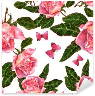 Vinilo Pixerstick Diseño de fondo transparente con rosas de la acuarela del estilo de la vendimia