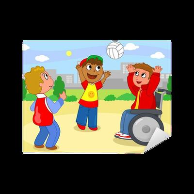 Vinilo pixerstick dos ni os que juegan voleibol con un ni o en silla de ruedas pixers - Silla de ruedas ninos ...