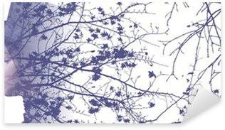 Vinilo Pixerstick Double exposure of girl wearing hat and autumn tree branches