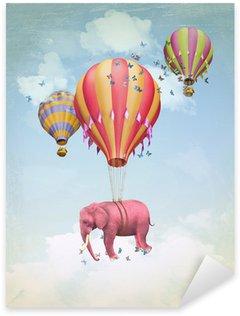 Pixerstick para Todas las Superficies Elefante rosa en el cielo con los globos. Ilustración