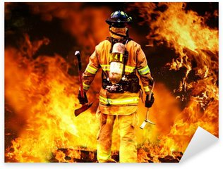 Pixerstick para Todas las Superficies En el fuego, un bombero de búsquedas de posibles supervivientes