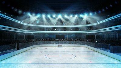 Pixerstick para Todas las Superficies Estadio de hockey con los espectadores y una pista de hielo vacía