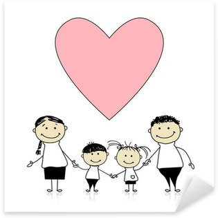 Pixerstick para Todas las Superficies Familia feliz con amor, dibujo boceto