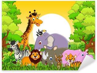 Pixerstick para Todas las Superficies Fauna animal lindo con el fondo del bosque